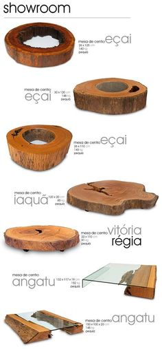 Raw wood + glass coffee tables by Tora Brasil Timber Furniture, Unique Furniture, Furniture Design, Wood Slab, Raw Wood, Live Edge Wood, Wood Creations, Wood Design, Wood Table