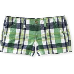 Plaid Shorty Shorts ($13) ❤ liked on Polyvore