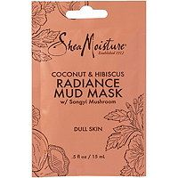 SheaMoisture Coconut & Hibiscus Radiance Mud Mask purifying mud mask absorbs impurities and removes dead skin cells that can dull the skin. Blend of Coconut Oil, Shea Butter, Hibiscus Flower and Songyi Mushroom Extract. White Hibiscus, Facial Wash, Dull Skin, Organic Coconut Oil, Skin Brightening, Good Skin, Moisturizer, Fragrance, Skin Care