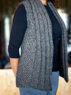 Perdido is a cozy vest featuring a wonderful, beginner cable stitch pattern with an extra warm collar. Knit Vest Pattern, Sweater Knitting Patterns, Knitting Designs, Knit Patterns, Cable Knitting, Free Knitting, Knit Sweater Dress, Crochet Clothes, Knitwear