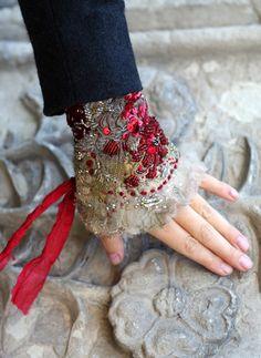1700 romantic bold wrist wrap gauntlet from by FleursBoheme