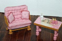 Settee, table and vanity items for bathroom or powder room http://stores.ebay.com/happyharvesterminiatures
