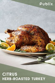 Brighten up your traditional Thanksgiving with this Publix Aprons recipe for Citrus Herb-Roasted Turkey. The best part of this recipe is the rosemary, thyme, and sage herb butter that coats the turkey inside and out. Peeled and quartered oranges, lemons, Thanksgiving Recipes, Fall Recipes, Holiday Recipes, Great Recipes, Favorite Recipes, Thanksgiving Turkey, Publix Aprons Recipes, Herb Roasted Turkey, Sage Herb