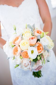 Gorgeous lemon,apricot,dusty miller bouquet,yet another lovely bride