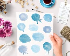 By Lef graphics on Etsy Watercolor clipart circles (44 pc) blue aqua light blue lavender. hand painted for logo design blogs making cards printables wall art etc by ByLef