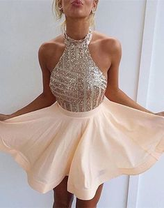 Homecoming Dress Sexy Backless Halter Sequin Bodice Short Back To School Back Cocktail Party Mini Dr on Luulla