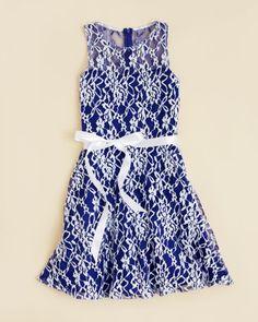 Un Deux Trois Girls' Lace Skater Dress - Sizes 7-16
