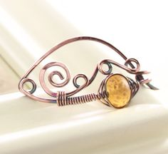 Solid copper shawl pin or scarf pin in swirly ornate by IngoDesign, $28.00