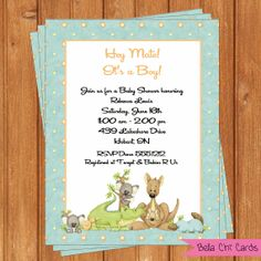 Important informationease read print yourself personalised down under baby shower invitations bsi198 diy 55 x 425 editable printable digital file with filmwisefo