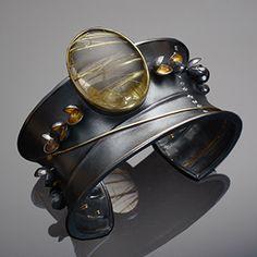 Flourishing Cuff - Contemporary Jewelry - 22K and 18K Gold, Sterling Silver, Diamonds, Rutilated Quartz by Liaung-Chung Yen