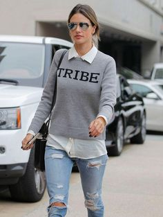 Alessandra Ambrosio shows that a swipe of tulip pigment was made for off-duty hair and sunglasses