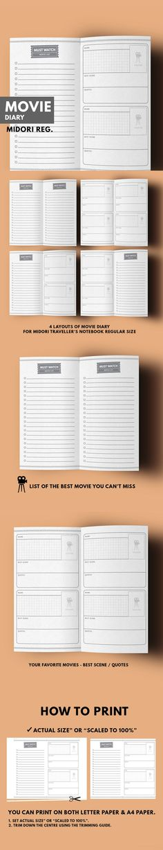 "Midori Movie Diary : List & Favorite Movie Inserts for Movie Lover ▹ for Midori Traveller's notebook Regular size Printable There're a lot of movie that worth ""WATCHING & REMEMBERING"". Let's this planner collect your good memories, quote, best scene , list of must watch film that you can't miss! ▹ MUST WATCH PAGES ▹ YOUR FAVORITE MOVIE DIARY PAGES"
