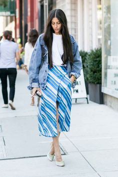 Grazia's Gilda Ambrosio in J.W. Anderson skirt and Fear of God jacket. Photo: Imaxtree