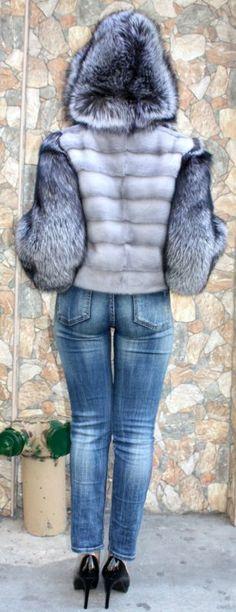 Marc Кауфман Furs сапфира норка куртка черно-бурой лисы мех капюшон