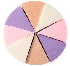 """Esponja em formato """"queijo"""" Feita em látex. contém 8 pedaços. Tamanho: 5 x 4 cm Cor: Branco, Bege, Roxo e Rosa"""