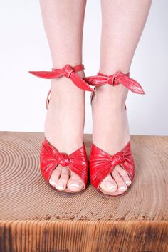 """1950s red leather peep-toe heels with ankle ties and 4"""" heel."""