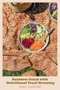 RAINBOW SALAD with NUTRITIONAL YEAST DRESSING This rainbow salad combines fresh veggies, beans, and seeds with a nutritional yeast dressing. It's the hippie salad of your dreams.