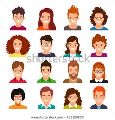 Collection of people avatars. Set of portraits of men and women. Vector illustration on white background.
