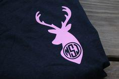 Monogrammed Deer T-Shirt, Hunting Shirt, Deer Season, Tee, Personalized Shirt, Ladies Shirt, Women's Shirt