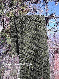 мужской вязаный шарф спицами в диагональную полосу