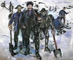 """Workers in the Snow, 1913, Edvard Munch Size: 163x200 cm Medium: oil on canvas"""""""