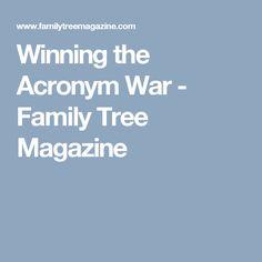 Winning the Acronym War - Family Tree Magazine