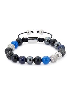 Blue Lapis, Agate and Onyx Men's bracelet.