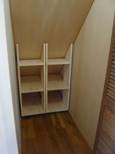 I made a storage rack under the stairs Understairs Storage I made a storage shelf under the stairs. Under Stairs Cupboard Storage, Kitchen Under Stairs, Closet Under Stairs, Attic Storage, Pantry Storage, Closet Storage, Storage Shelves, Understairs Closet, Understairs Storage Ideas