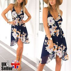 Women Summer Beach Floral Flower Sexy Split Spaghetti Strap Dress. Material: Chiffon, Polyester, Cotton Linen. 1 x Dress. Colors: Refer to pictures. | eBay!