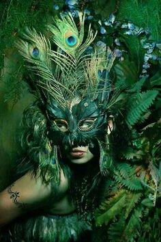 green peacock Mask