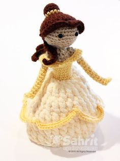 PATTERN Instant Download TALL Belle Beauty and the Beast Crochet Doll Amigurumi…♡