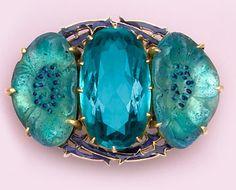 Classic enamel, glass and gold brooch.   René Lalique, Paris.     at NELSON RARITIES, INC           http://www.nelsonrarities.com/128-6.html