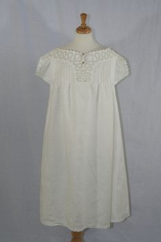 c.1890s Antique Victorian Ladies Night Gown ~ White Work Lace