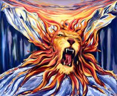 """""""Destruction or Creation?"""" I saw the Lion of the Tribe of Judah roaring while His flaming mane was flowing into rivers of water. As I began painting I knew that He needed to be between two high, snow-covered peaks, forging His way through the canyon. The reoccuring water theme has taken on a more purple hue in this painting, which speaks of His royalty. Out of the King's fiery passion new things are being created. The rivers of water symbolize the new life."""
