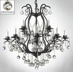 Chandelier Made with Swarovski Crystal! Wrought Iron Crystal Chandelier Chandeliers Lighting Dressed W/Crystal Balls & Shades! Crystal Chandelier Lighting, Drum Chandelier, Chandelier Shades, Chandelier Ideas, White Chandelier, Kitchen Chandelier, Gallery Lighting, Lighting Ideas, Compact Fluorescent Bulbs