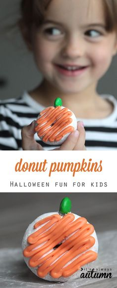 My kids would love to make these! Cute donut pumpkins. Looks like an easy Halloween activity.