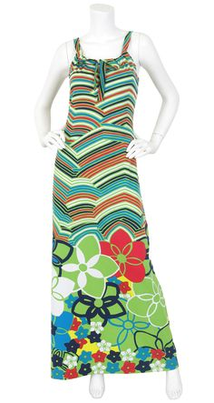 Lanvin Boutique 1970's Floral Pop Art Jersey Maxi Dress. Available on Featherstone Vintage.