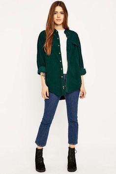 Urban Renewal Vintage Customised Green Pinwell Corduroy Shirt