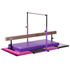Nimble Sports Horizontal Bar, Balance Beam, Folding Mat and Landing Mat Deluxe Gymnastics Set