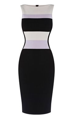 2013 Karen Millen KN202 Stripe bandage knit dress black multi