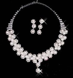 Necklace earring set Pearl crystal bridal jewelry Wedding bridal jewelry pearl diamante: Patio, Lawn & Garden.