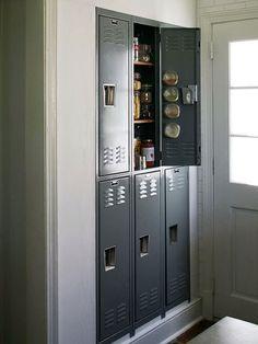 Locker pantry. Wood shelves.