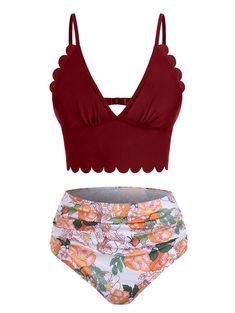 [30% OFF]  2020 Low Cut Floral Print Scalloped Tankini Swimwear In DEEP RED   DressLily Summer Business Casual Outfits, Summer Outfits For Teens, Beach Outfits, Fashion Cover, Beachwear Fashion, Cute Bathing Suits, Bra Styles, Trendy Swimwear, Tankini