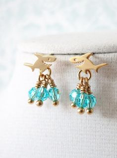 Small Shark Earrings - Gold Shark with Swarovski Aquamarine crystal beads Earring - Dainty cute shark fish ocean sea beach fun chic jewelry, www.colormemissy.com