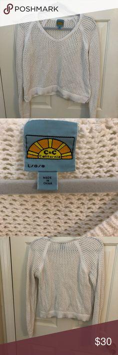 C & C California white crotchet crop sweater. EUC EUC 100% cotton C&C California Sweaters Crew & Scoop Necks