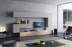 Logic 586 living room modular cabinet with curved baskets and drop down / vasistas wall units in veneer or lacquer in more than 20 colours. Living Room Modern, Home Living Room, Living Room Designs, Kitchen Wall Units, Wall Display Cabinet, Modular Cabinets, Tv Unit Design, Italian Furniture, Pantone