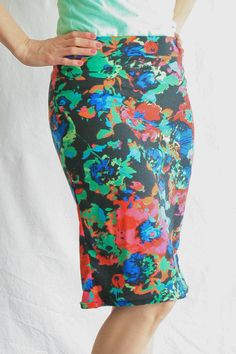 Custom Made To Order Women's Pencil Skirt, Black and Mint Floral