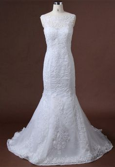Lace Applique Mermaid Wedding Dress Open Lace by IDoCoutureBridal