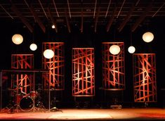 Our newest set was designed to feel warm and inviting during cold winter weather. More stage design ideas @ http://www.leapofaith.com/page5/page5.html