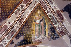 Agnolo Gaddi - Dottori della Chiesa, dett. Sant' Agostino - affresco - 1385 - volta Cappella Castellani - Basilica di Santa Croce a Firenze.